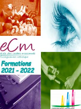Page de couverture du catalogue formations 2019-2020 de l'Ecole des Cades Missionnés (ECM).